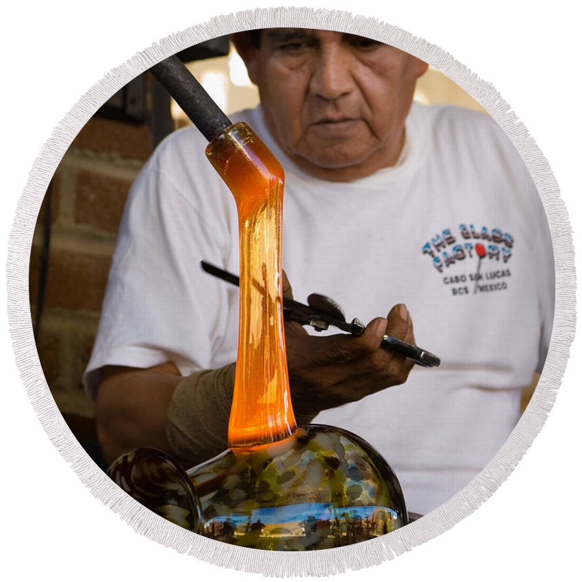 Cabo San Lucas Round Beach Towel featuring the photograph Glass Blower by Sean Wray