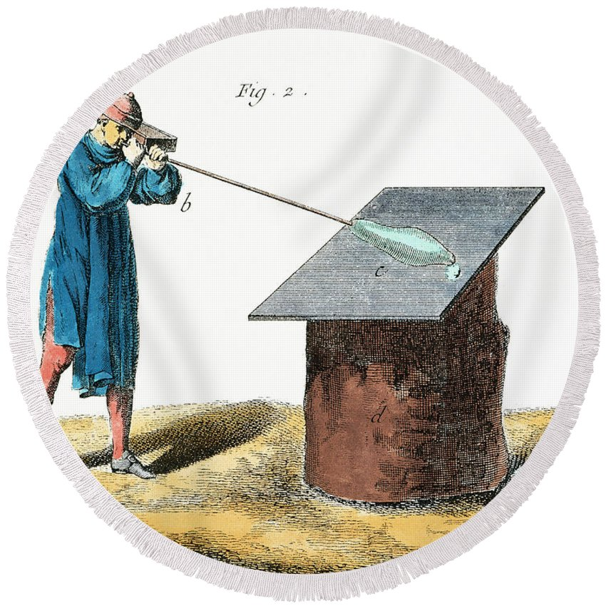 18th Century Round Beach Towel featuring the photograph Glassblower, 18th Century by Granger