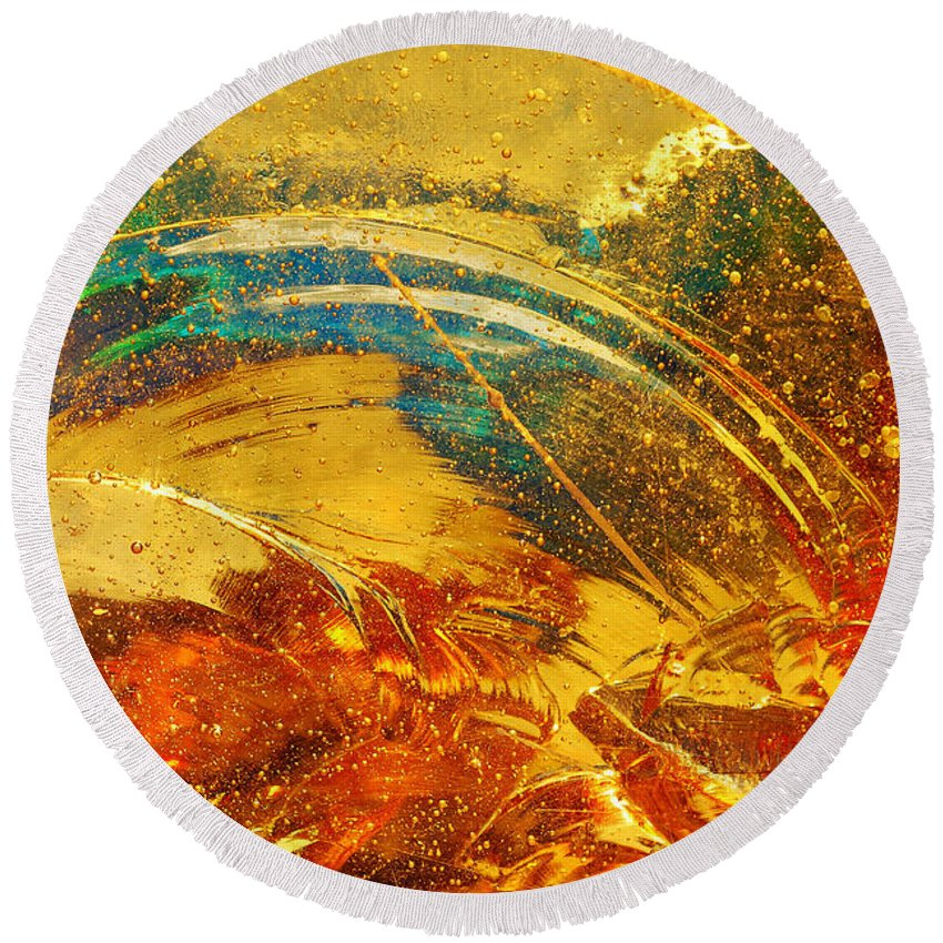Abstract Photography Round Beach Towel featuring the photograph Glassworks Series-multicolor I by Regina Geoghan