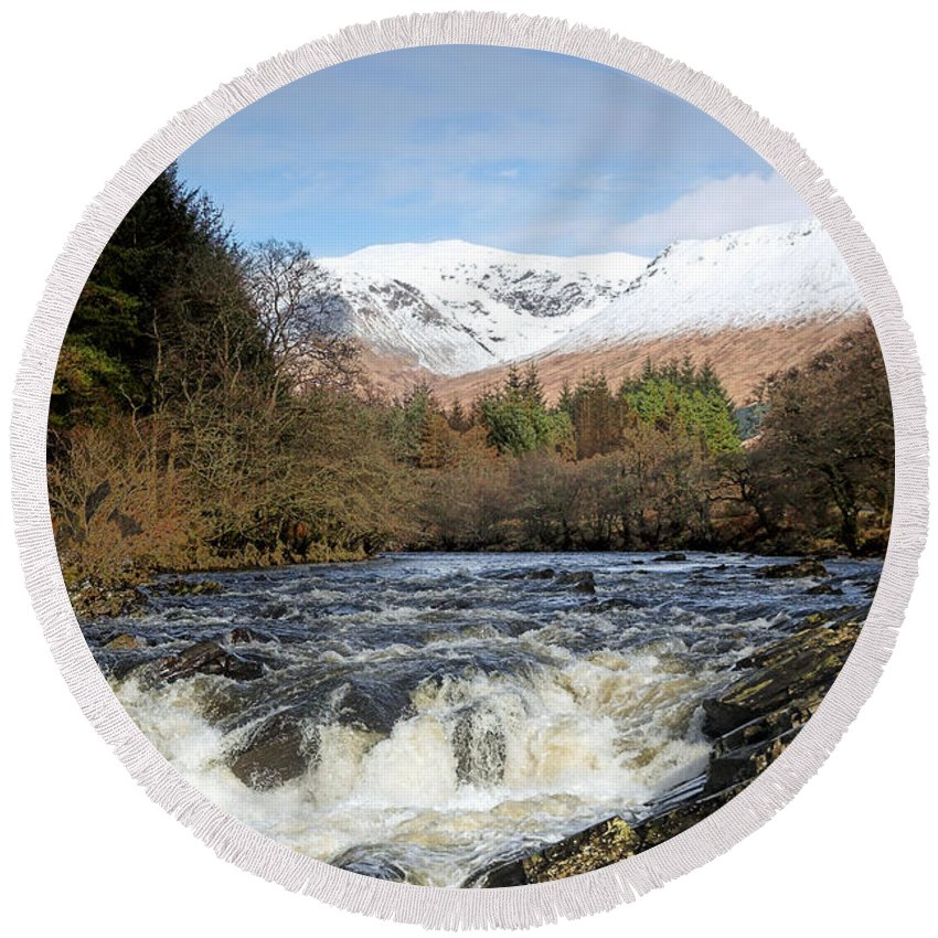Scotland Round Beach Towel featuring the digital art Glen Orchy by Pat Speirs
