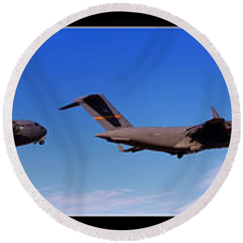 C17 Round Beach Towel featuring the photograph Globemaster Flyby by Ricky Barnard