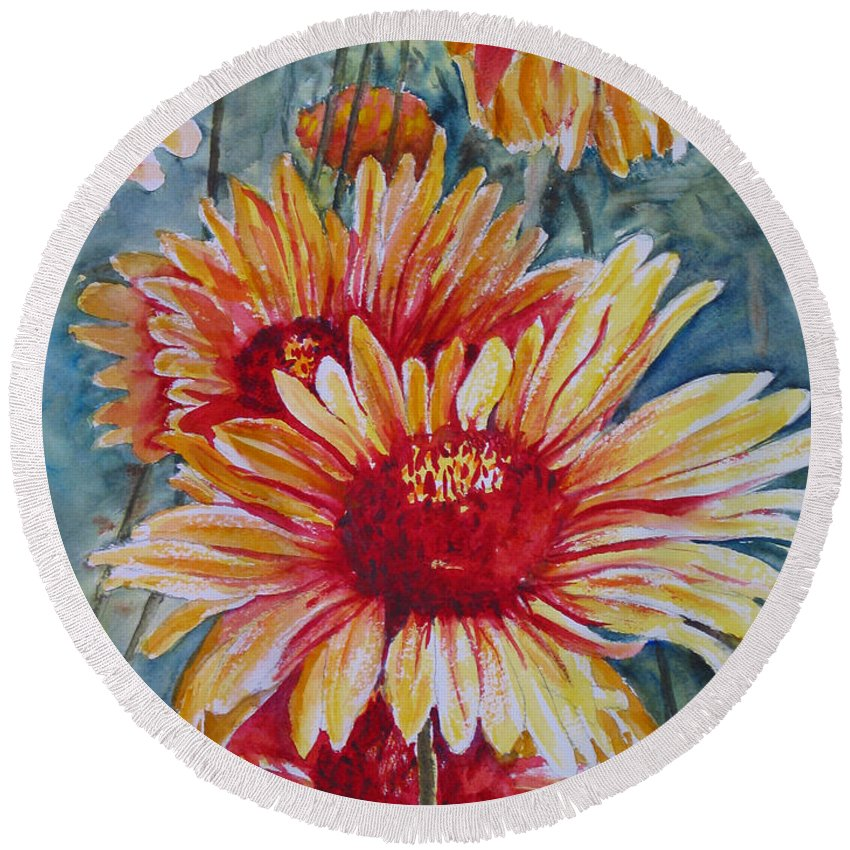 Round Beach Towel featuring the painting Glorious Gallardias by Mohamed Hirji