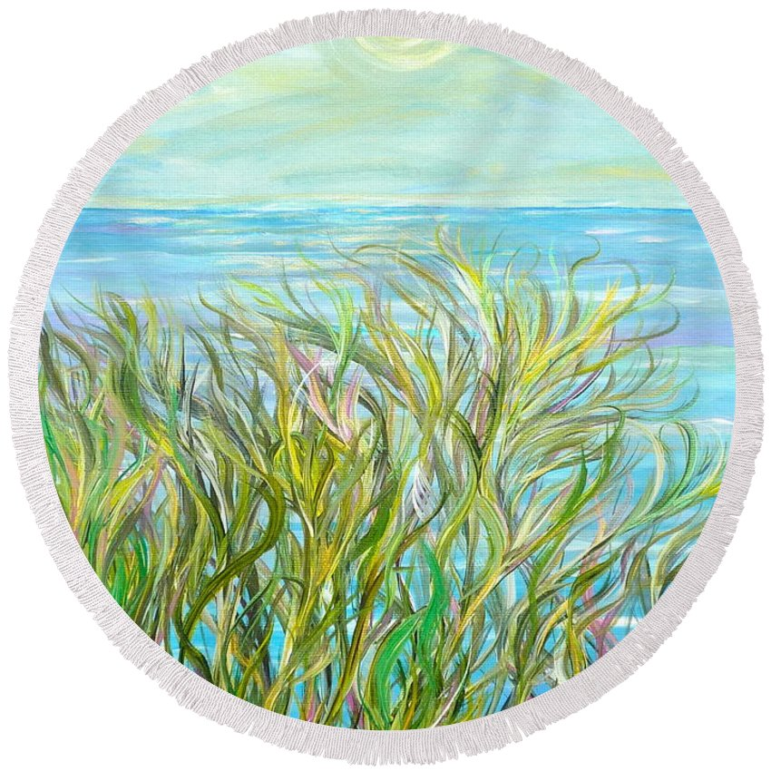 Landscape Round Beach Towel featuring the painting Glory Days by Sara Credito