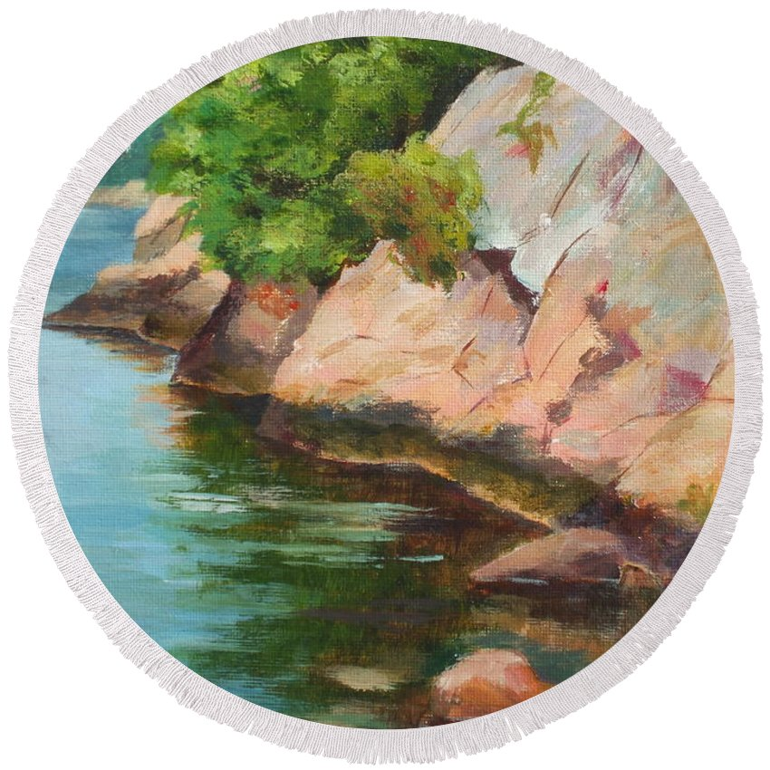 Summer Round Beach Towel featuring the painting Gloucester Sail Boat by Claire Gagnon
