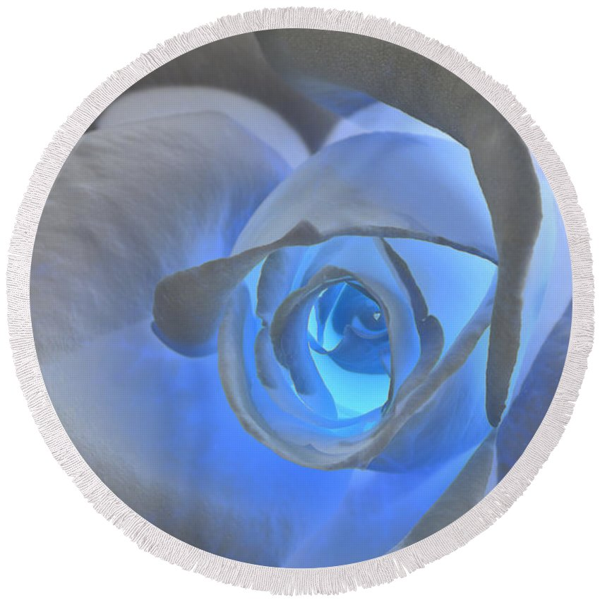 Rose Round Beach Towel featuring the photograph Glowing Blue Rose by Phyllis Denton