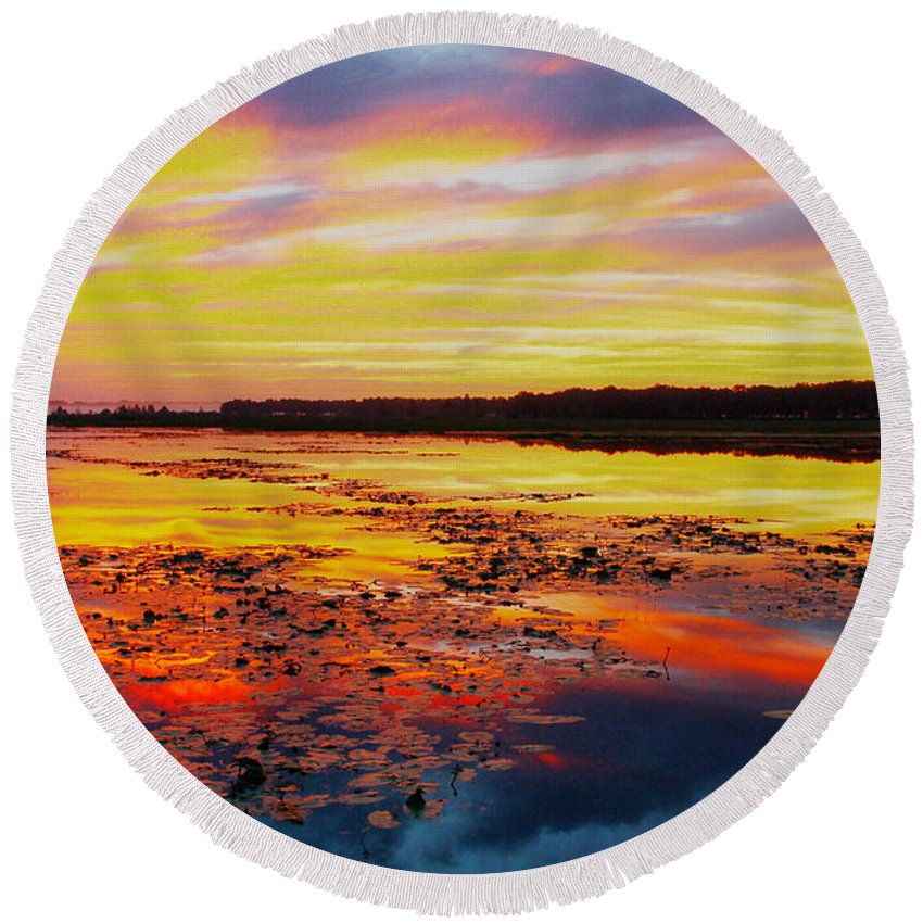 Sunrise Round Beach Towel featuring the photograph Glowing Skies Over Crews Lake by Barbara Bowen