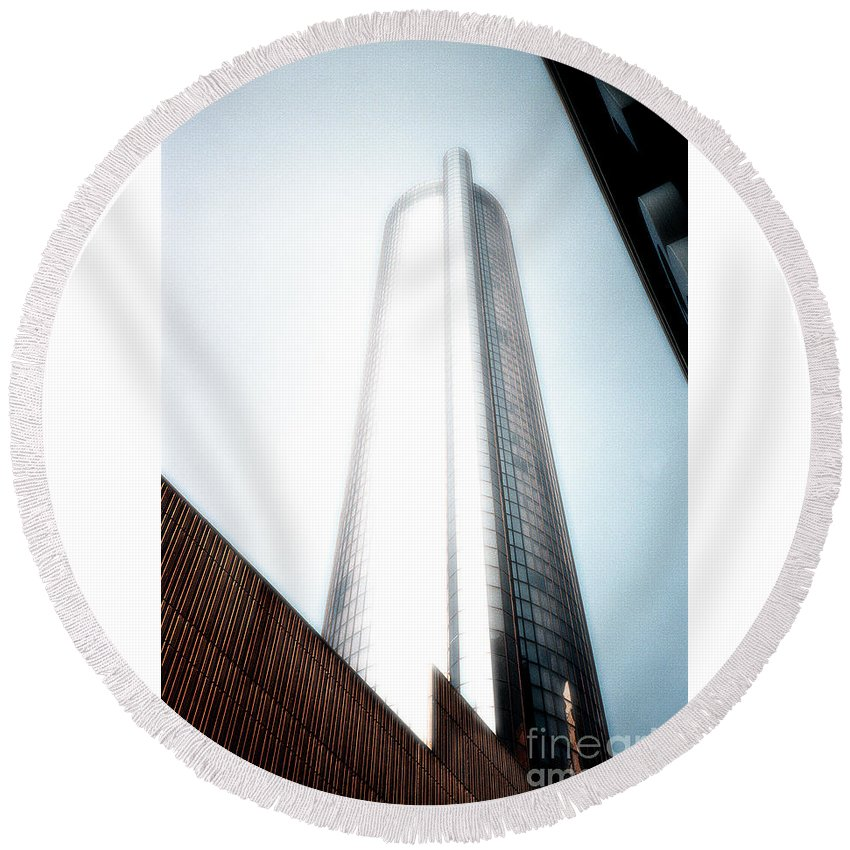 Skyscraper Round Beach Towel featuring the photograph Glowing Skyscraper by Mike Nellums