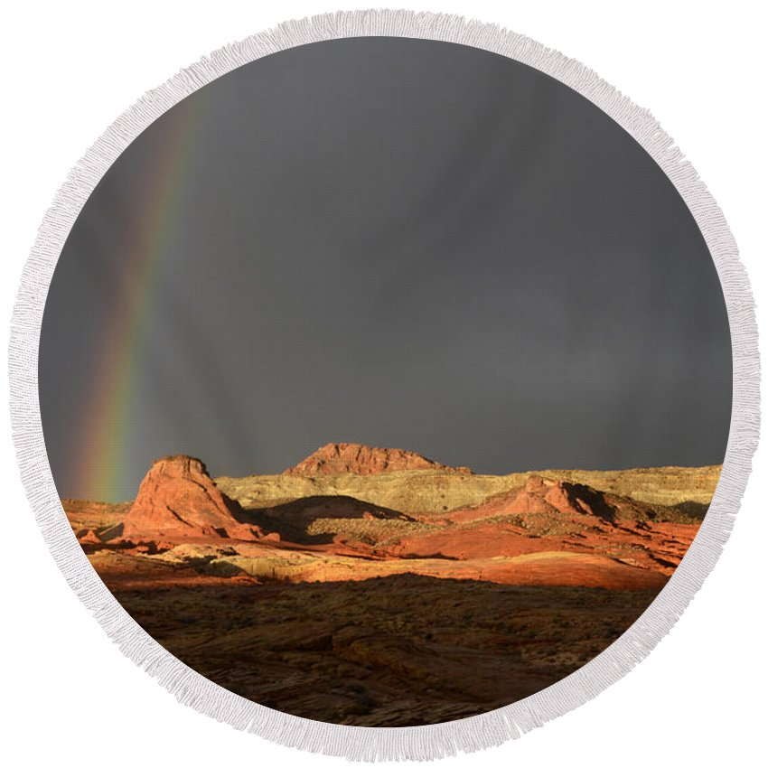 Rainbow Round Beach Towel featuring the photograph Go To The Light by Bob Christopher