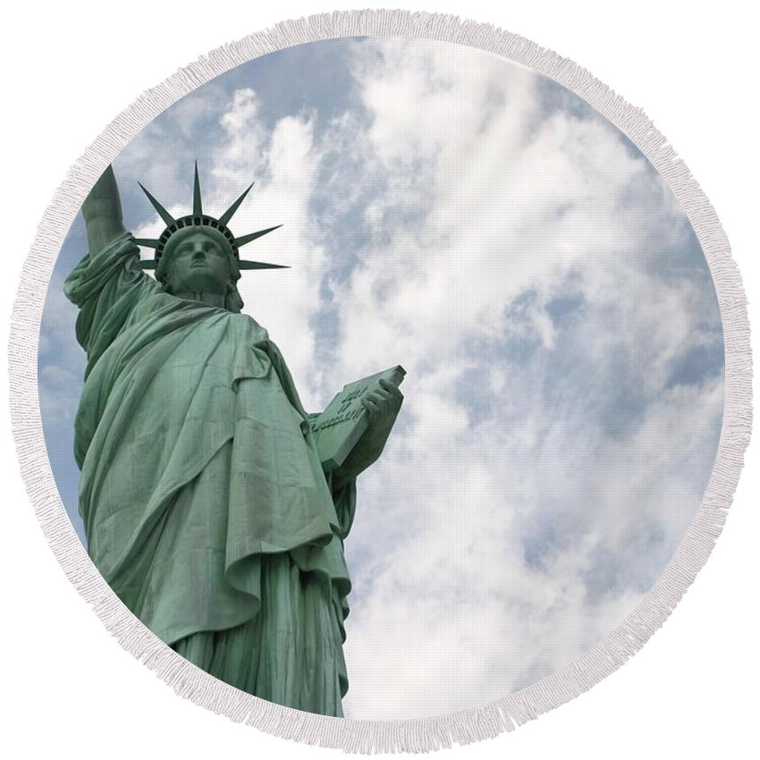Statue Of Liberty Round Beach Towel featuring the photograph God Bless America by Living Color Photography Lorraine Lynch