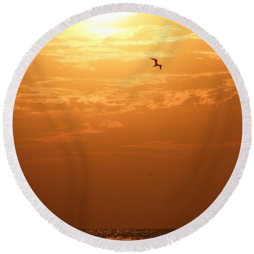 Sunset Round Beach Towel featuring the photograph Golden Flight by Kimberly Mohlenhoff
