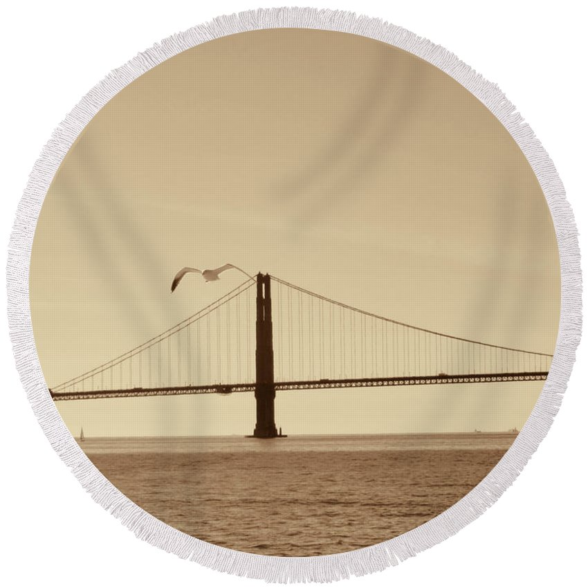 Golden Gate Bridge-san Francisco Round Beach Towel featuring the photograph Golden Gate Bridge-sepia by Douglas Barnard
