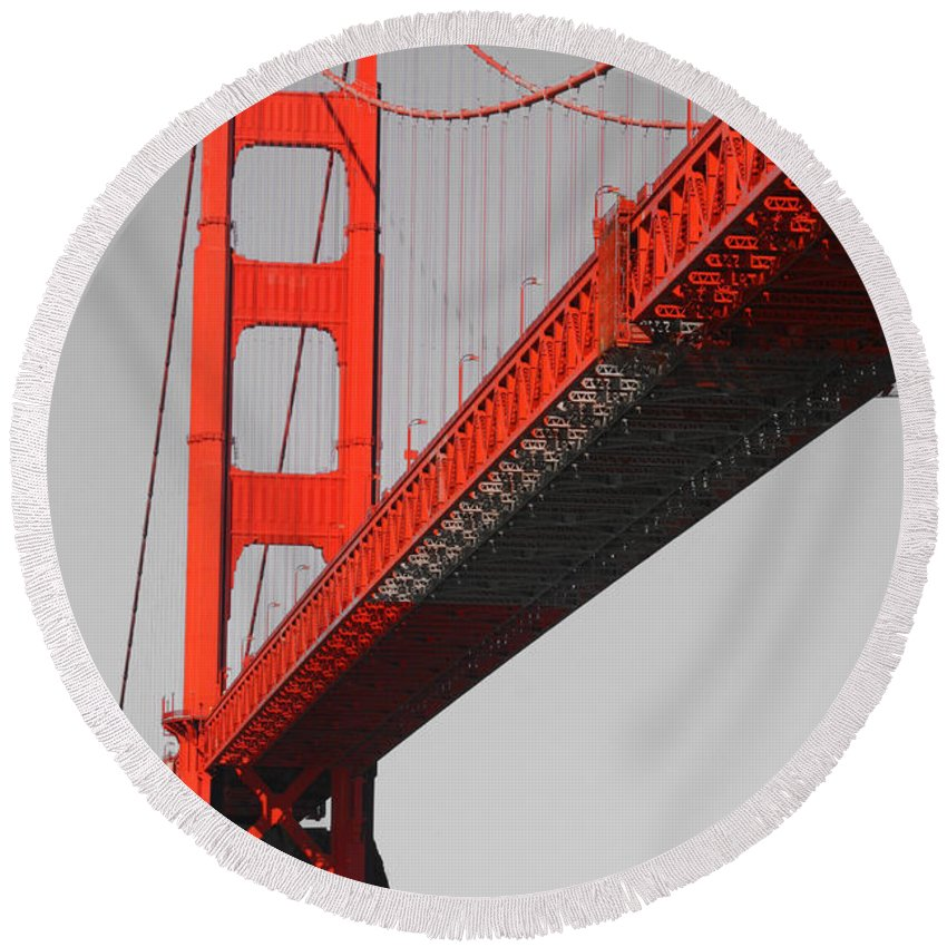 Golden Gate Bridge-san Francisco Round Beach Towel featuring the photograph Golden Gate Bridge-touch Of Color by Douglas Barnard