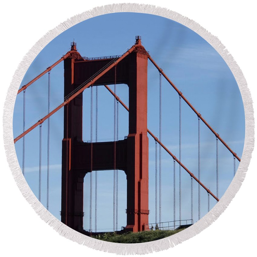 Golden Gate North Tower Round Beach Towel featuring the photograph Golden Gate North Tower by Wes and Dotty Weber