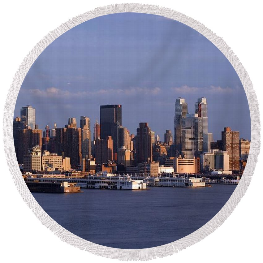 New York City Round Beach Towel featuring the photograph Golden Glow Of New York City by Living Color Photography Lorraine Lynch