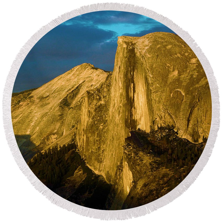 Half Dome Round Beach Towel featuring the photograph Golden Half Dome by Adam Jewell