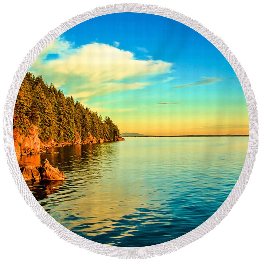 Larrabee State Park Samish Bay Round Beach Towel featuring the photograph Golden Light by Robert Bales