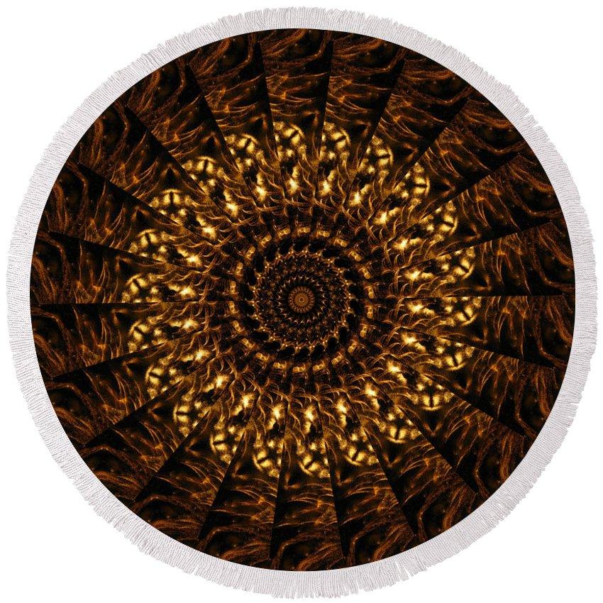 Mandala Round Beach Towel featuring the digital art Golden Mandala 3 by Rhonda Barrett