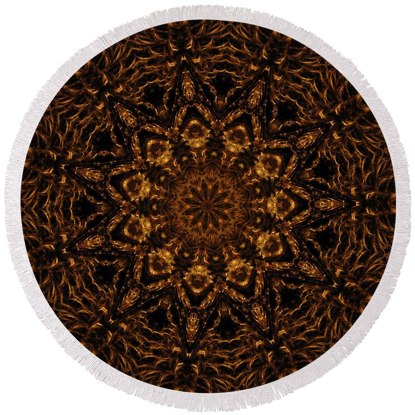 Mandala Round Beach Towel featuring the digital art Golden Mandala 4 by Rhonda Barrett