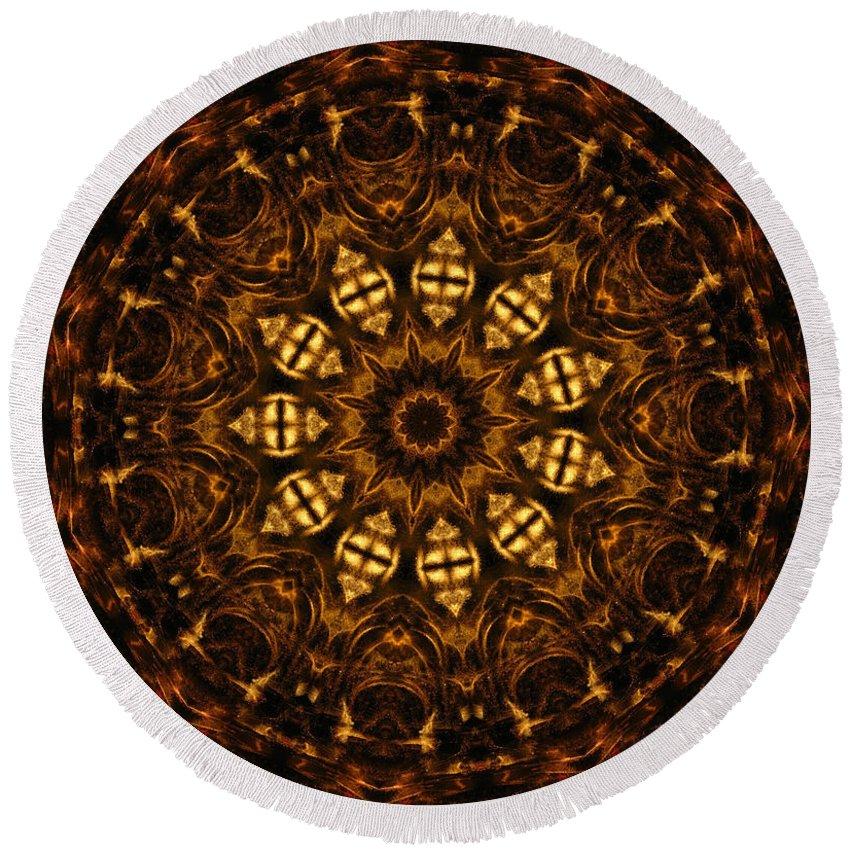 Mandala Round Beach Towel featuring the digital art Golden Mandala 6 by Rhonda Barrett
