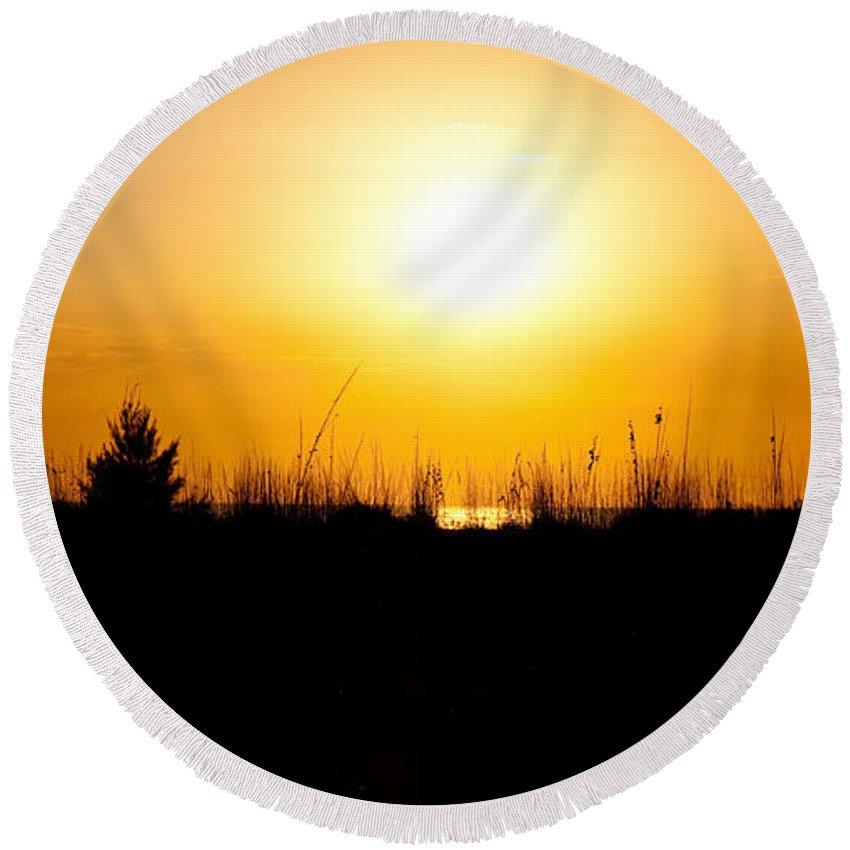 Sunset Round Beach Towel featuring the photograph Golden Margarita Sunset by Christine Stonebridge