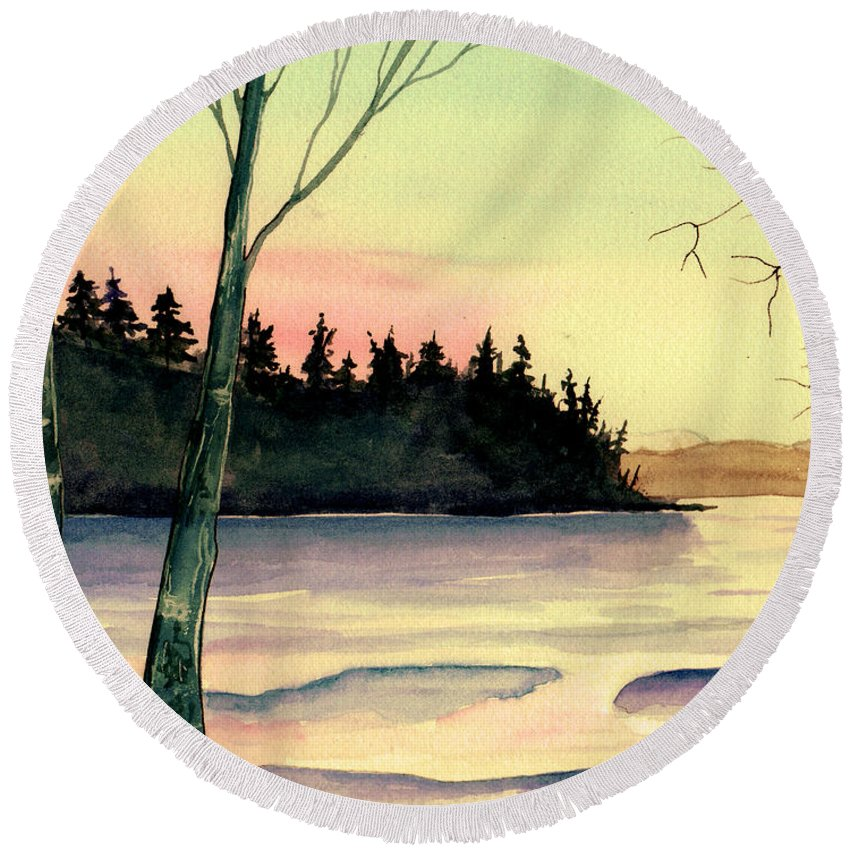 Watercolor Round Beach Towel featuring the painting Golden Moment by Brenda Owen