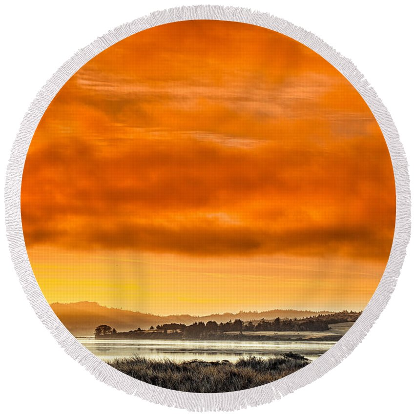 Humboldt Bay Round Beach Towel featuring the photograph Golden Morning Over Humboldt Bay by Greg Nyquist