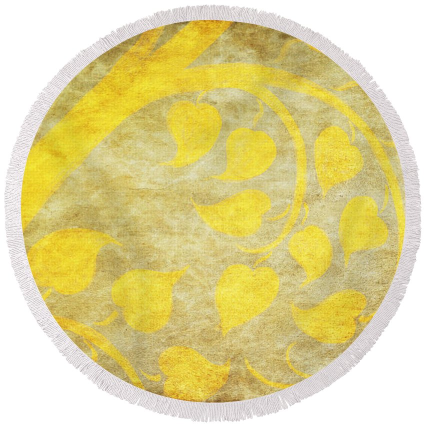 Abstract Round Beach Towel featuring the painting Golden Tree Pattern On Paper by Setsiri Silapasuwanchai