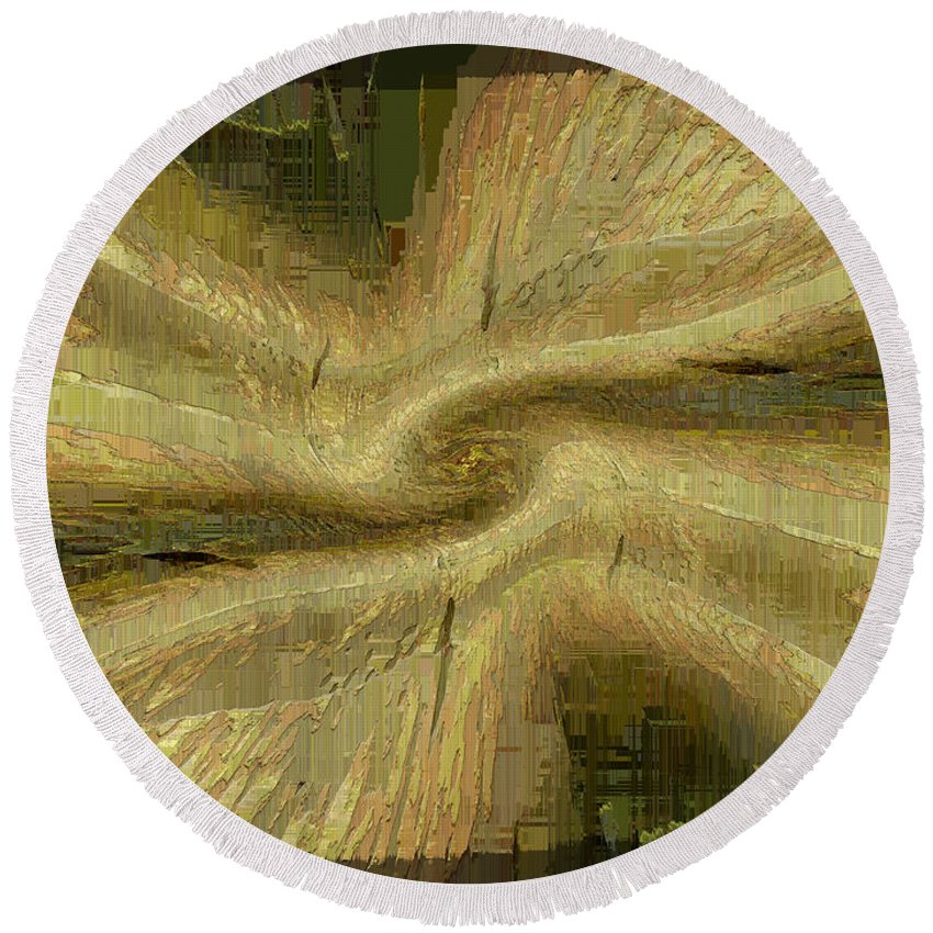 Abstract Round Beach Towel featuring the digital art Golden Tug Of War by Tim Allen