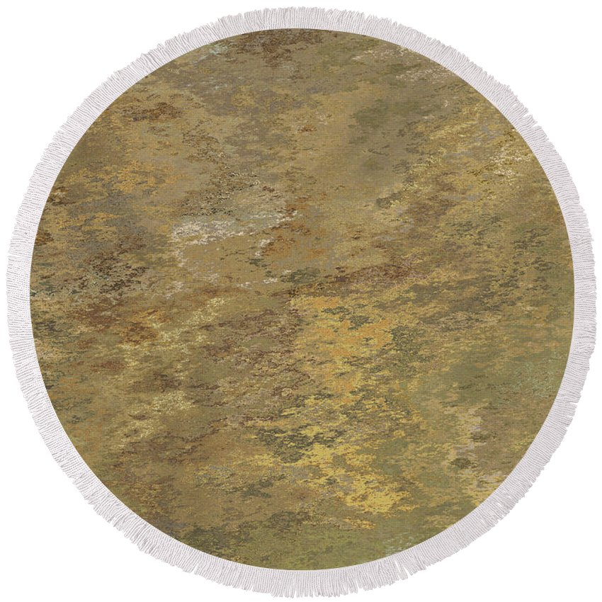 Abstract Round Beach Towel featuring the digital art Goldtone Stone Abstract by Debbie Portwood