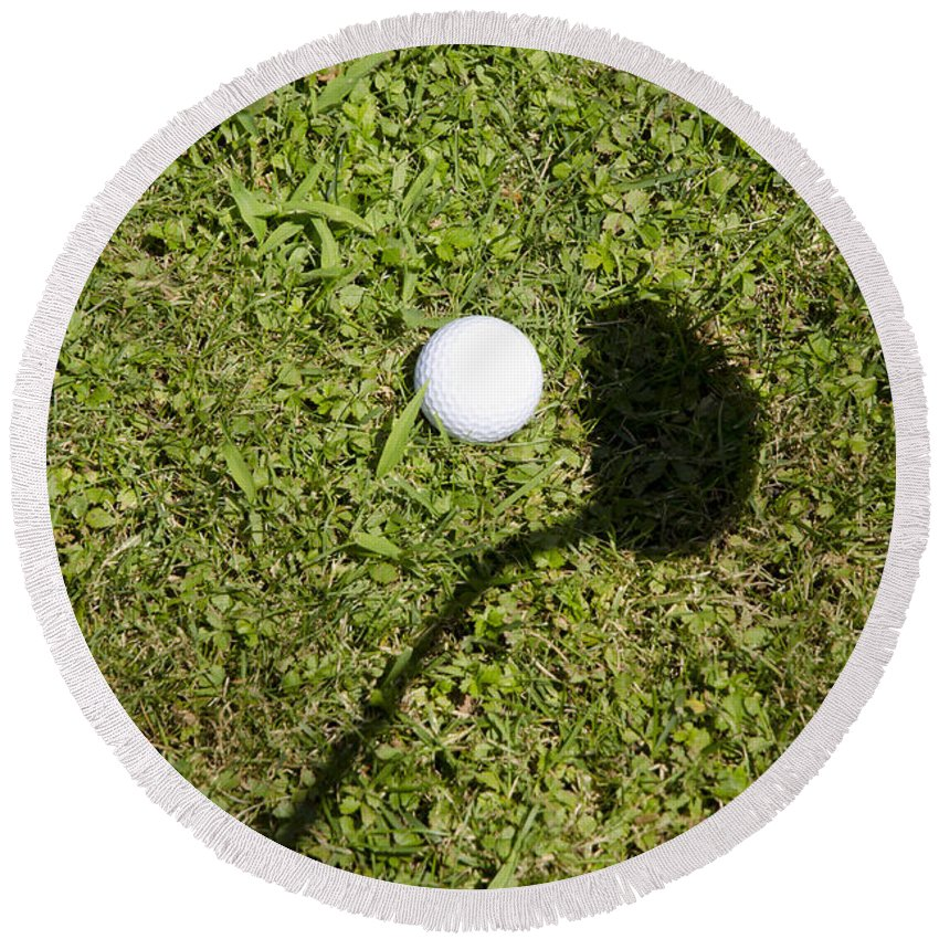 Golf Round Beach Towel featuring the photograph Golf Ball And Shadow by Mats Silvan