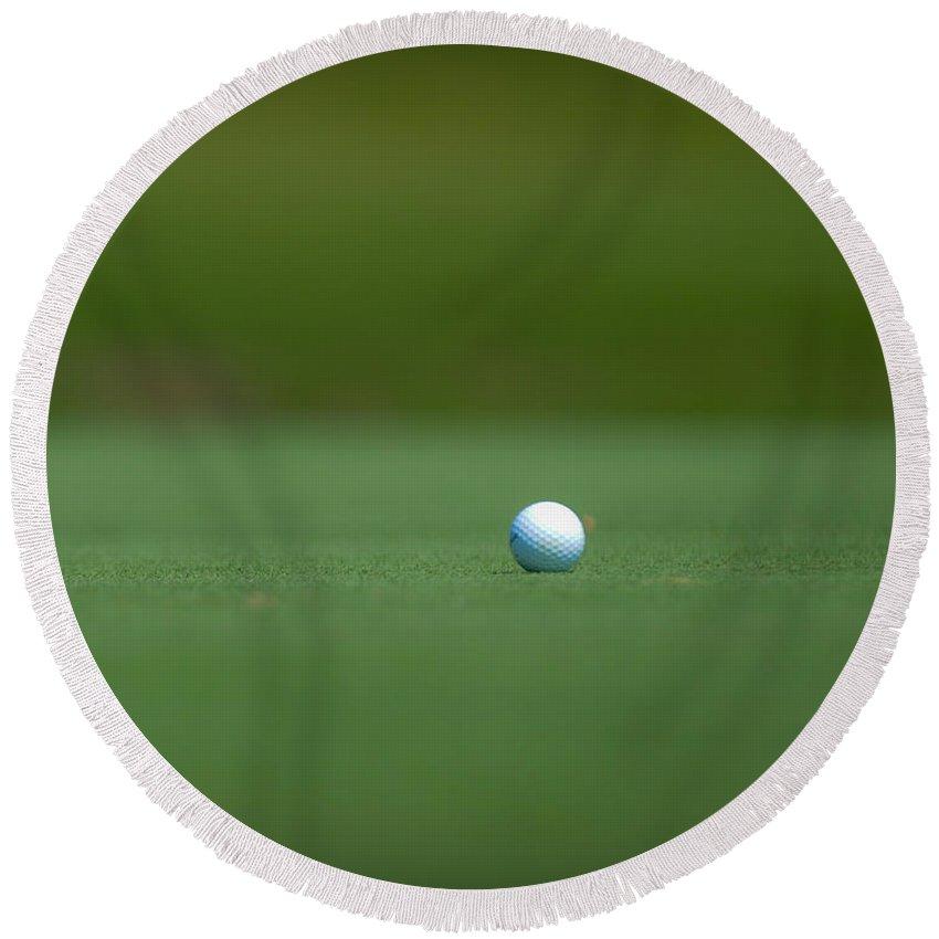 Golf Round Beach Towel featuring the photograph Golf Ball by Sean Wray