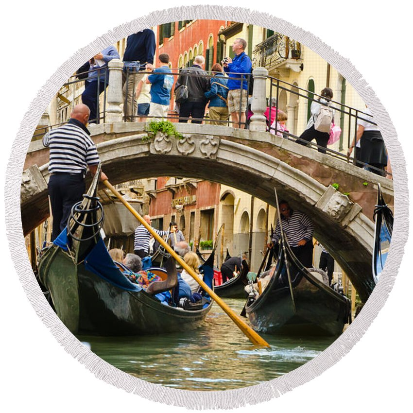 Gondola Round Beach Towel featuring the photograph Gondolas Galore by Jon Berghoff