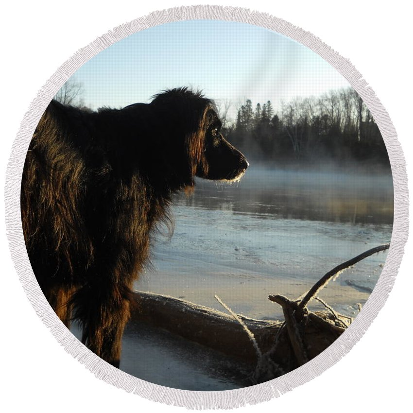 Dog Round Beach Towel featuring the photograph Good Morning Mississippi River by Kent Lorentzen