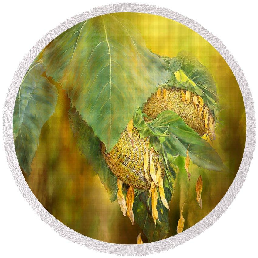 Sunflower Round Beach Towel featuring the mixed media Goodbye Sunshine by Carol Cavalaris