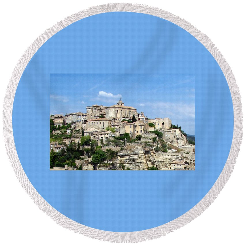 Gordes Round Beach Towel featuring the photograph Gordes In Provence by Carla Parris