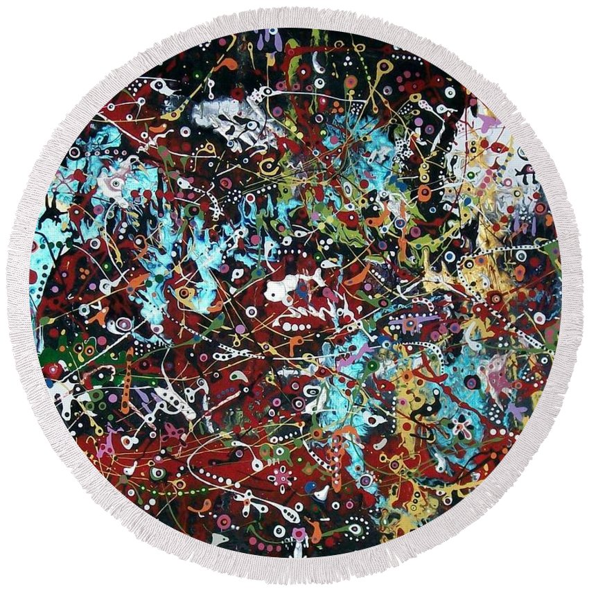 Abstract-expressionism Round Beach Towel featuring the painting Government Bureaucracy Is Making Me Crazy by Charlotte Nunn