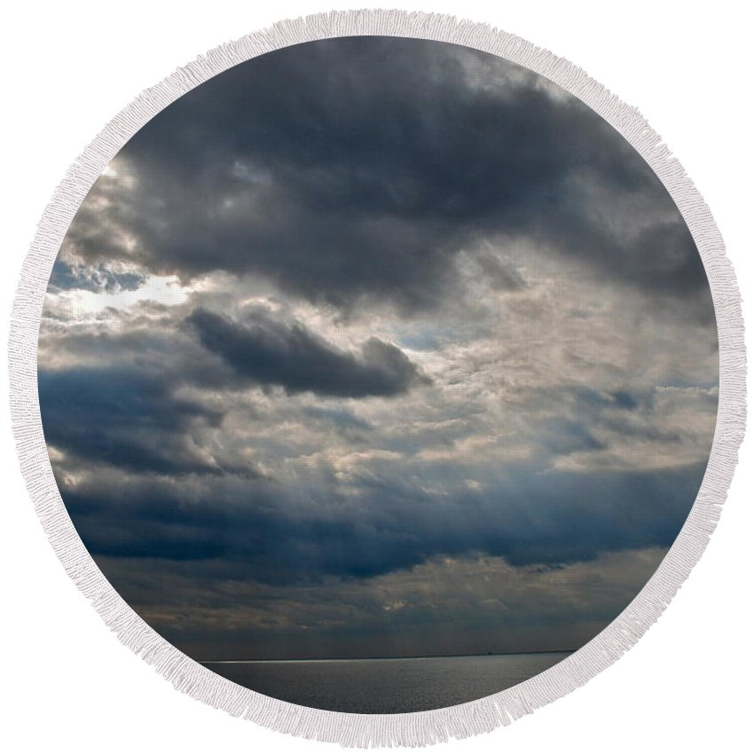 Gozo Round Beach Towel featuring the photograph Gozo Skies by Eric Tressler