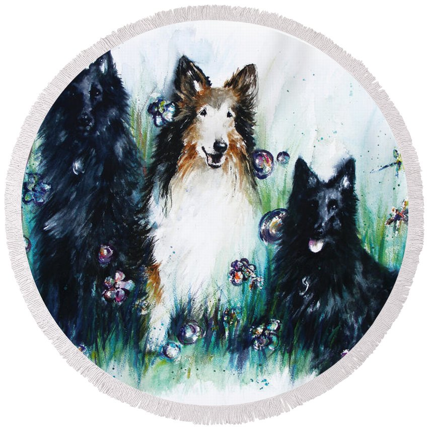 Dogs Round Beach Towel featuring the painting Gracie Abbey And Bella by Rachel Christine Nowicki