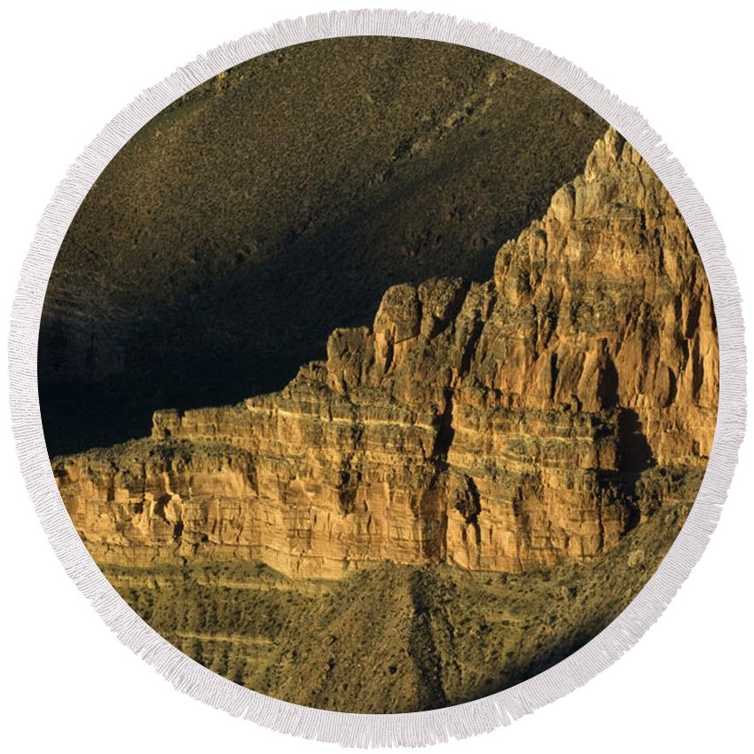 Grand Canyon Round Beach Towel featuring the photograph Grand Canyon Bathed In Light by Bob Christopher
