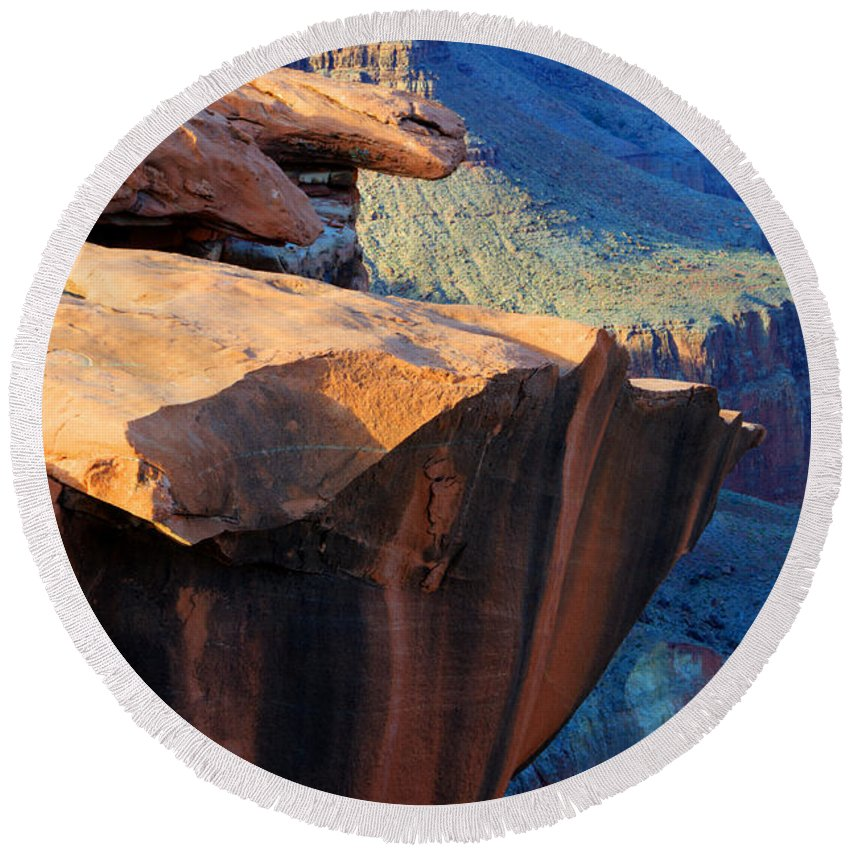 Grand Canyon Round Beach Towel featuring the photograph Grand Canyon Into Space by Bob Christopher