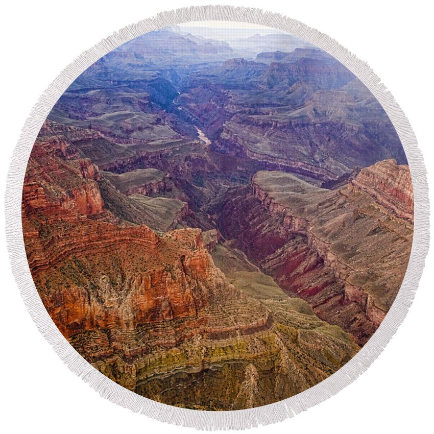 'grand Canyon' Round Beach Towel featuring the photograph Grand Canyon Morning Scenic View by James BO Insogna