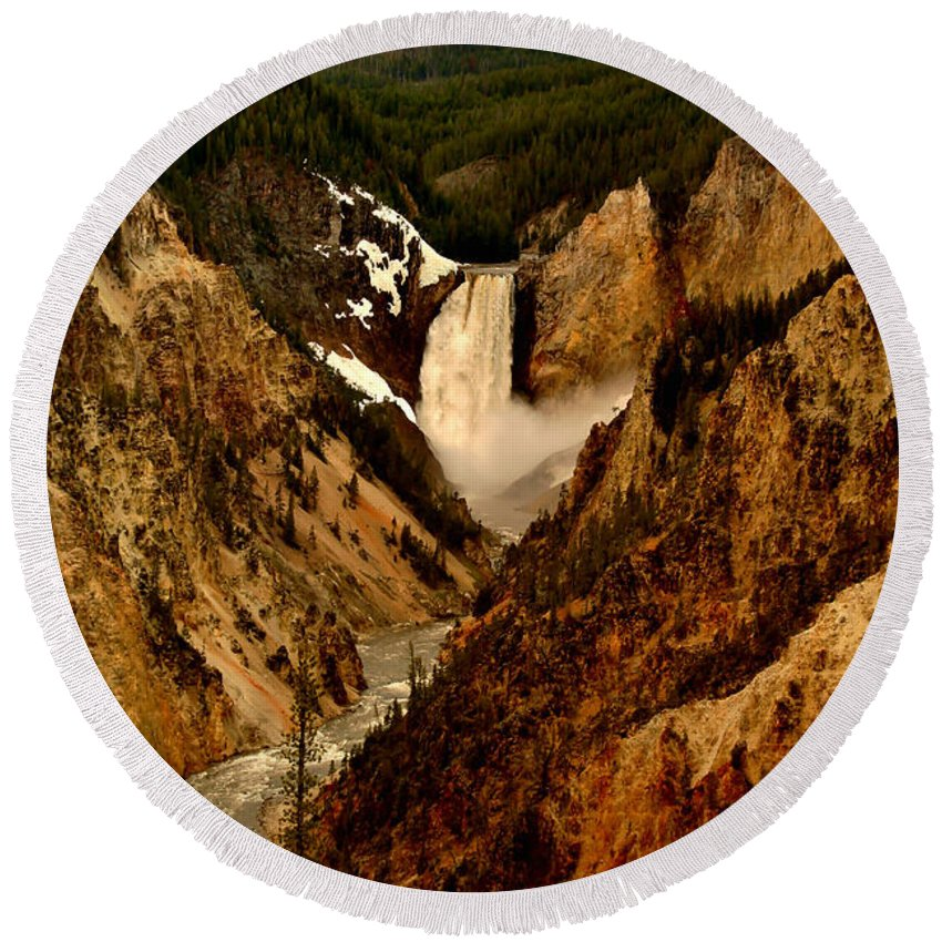 Canyon Round Beach Towel featuring the photograph Grand Canyon Of The Yellowstone by Ellen Heaverlo