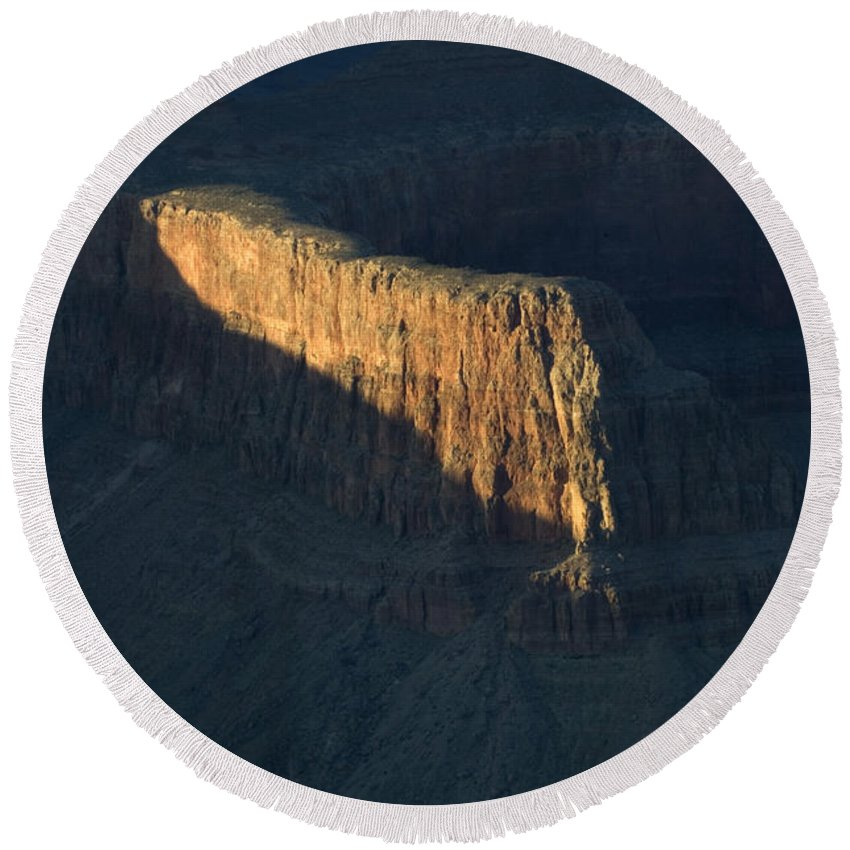 Grand Canyon Round Beach Towel featuring the photograph Grand Canyon Point Of Light by Bob Christopher