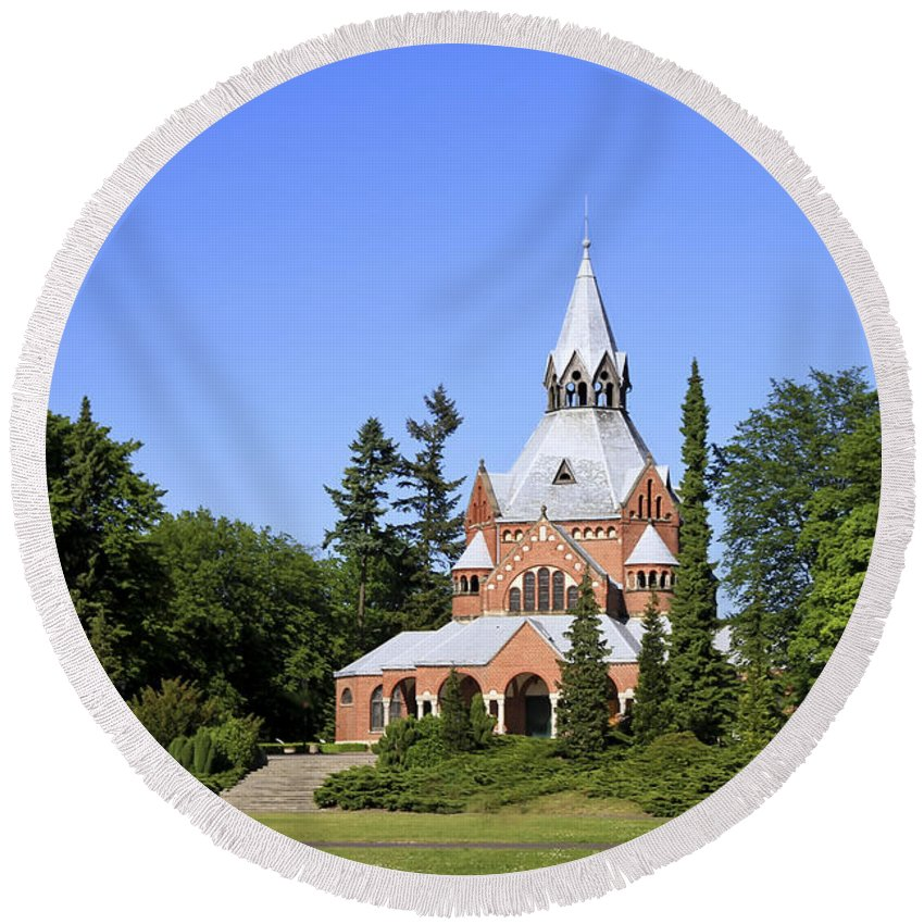 Chapel Round Beach Towel featuring the photograph Grand Chapel In Central Cemetery Szczecin Poland by Teresa Zieba