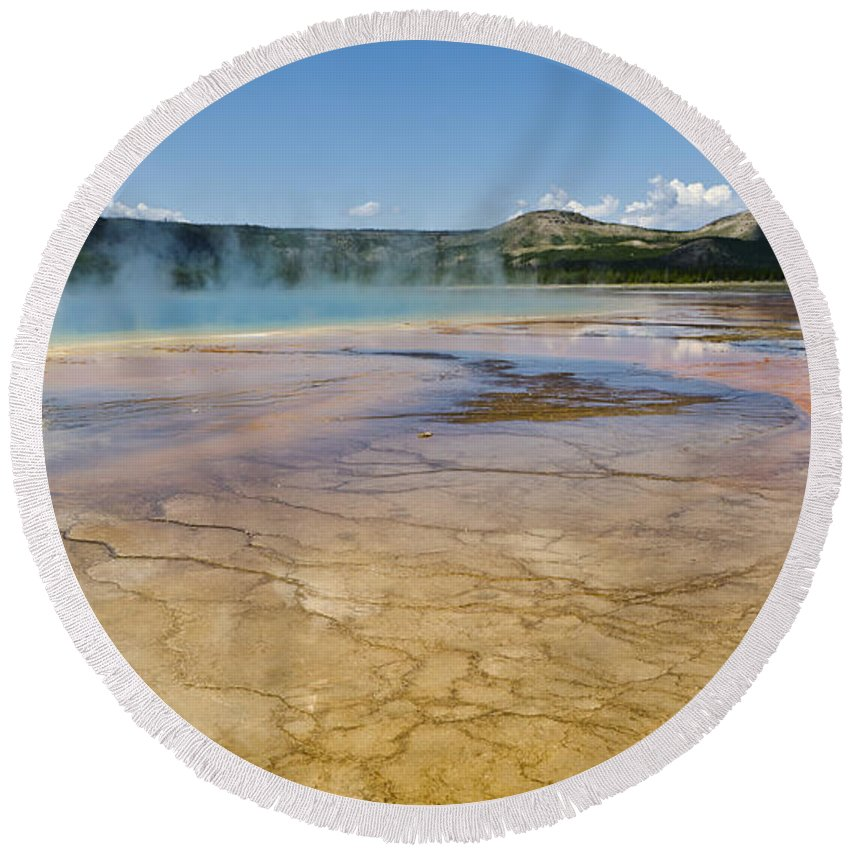 Yellowstone National Park Round Beach Towel featuring the photograph Grand Prismatic Spring II by Jon Berghoff