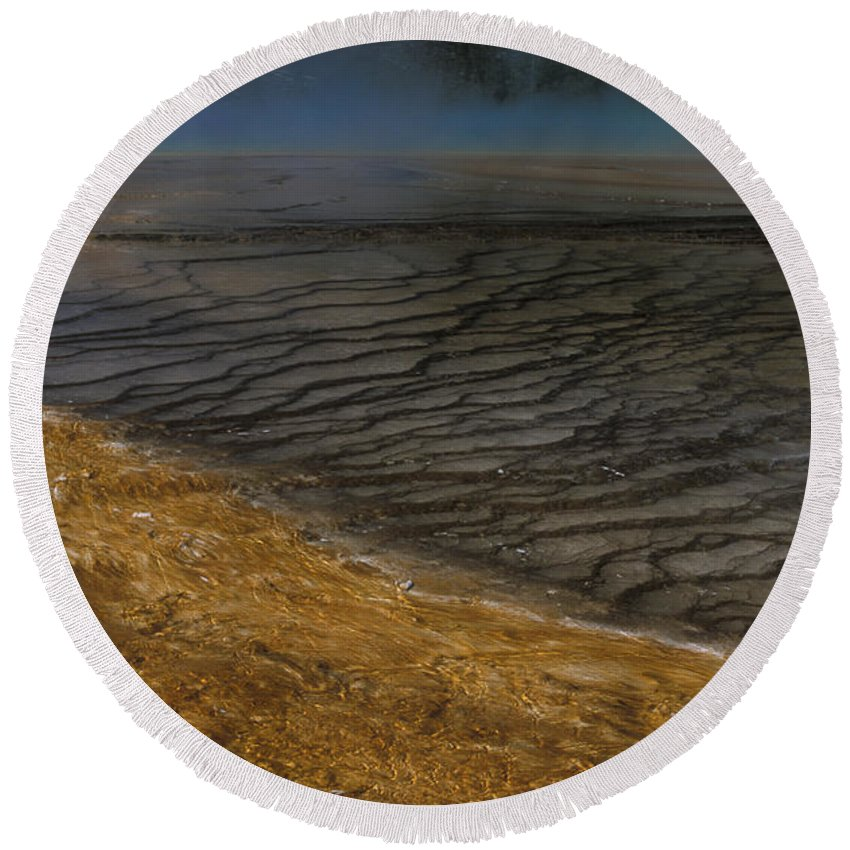 Yellowstone Round Beach Towel featuring the photograph Grand Prismatic Spring Runoff by Sandra Bronstein