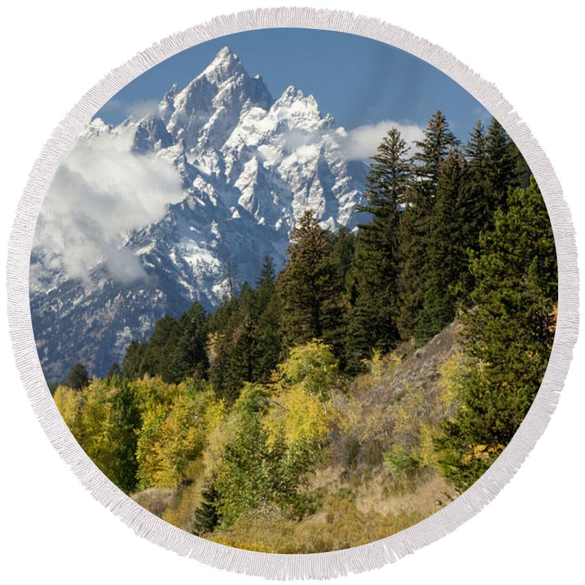 Sandra Bronstein Round Beach Towel featuring the photograph Grand Teton by Sandra Bronstein