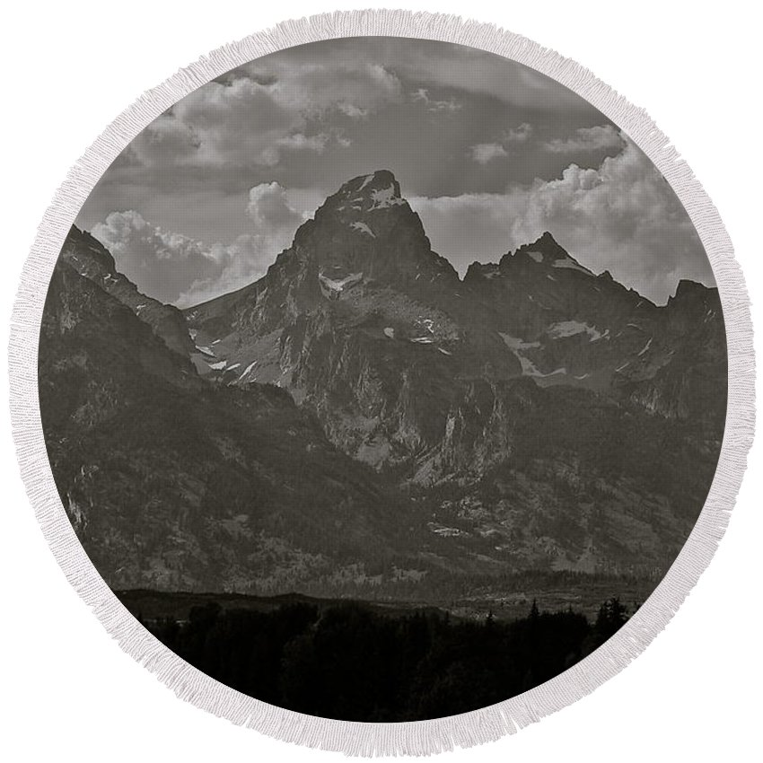 Mountains Round Beach Towel featuring the photograph Grand Tetons by Eric Tressler