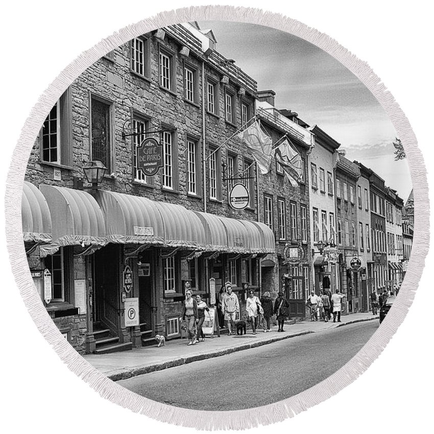 Street Round Beach Towel featuring the photograph Grande Allee by Eunice Gibb