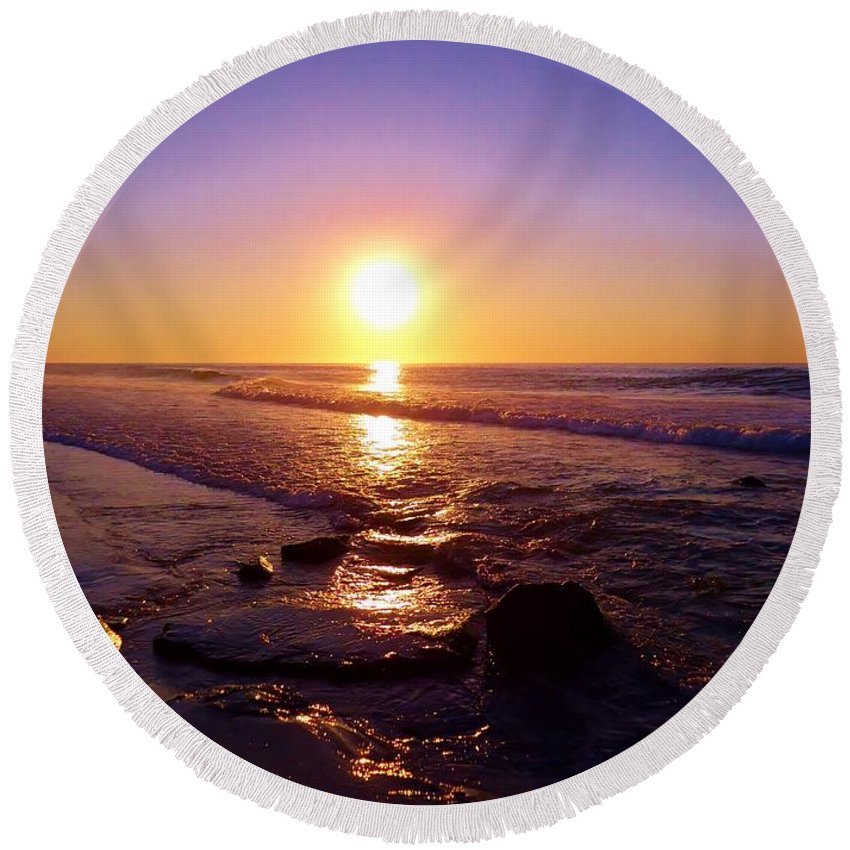 Sunrise Round Beach Towel featuring the photograph Grape Sea by Art Dingo